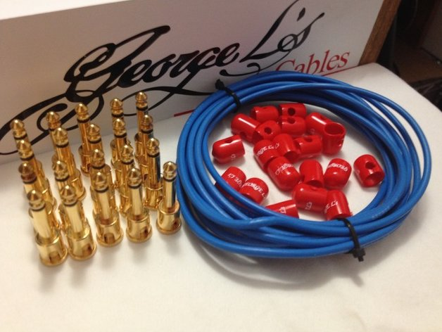 George L's 155 Pedalboard Effects Cable Kit XL .155 Blue & Red GOLD 20/20/20