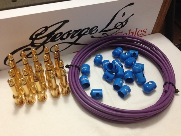 George L's 155 Pedalboard Cable Kit XL .155 Purple & Blue / GOLD - 20/20/20