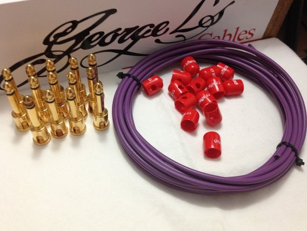 George L's 155 Pedalboard Cable Kit LARGE .155 Purple & Red / GOLD 15/14/14