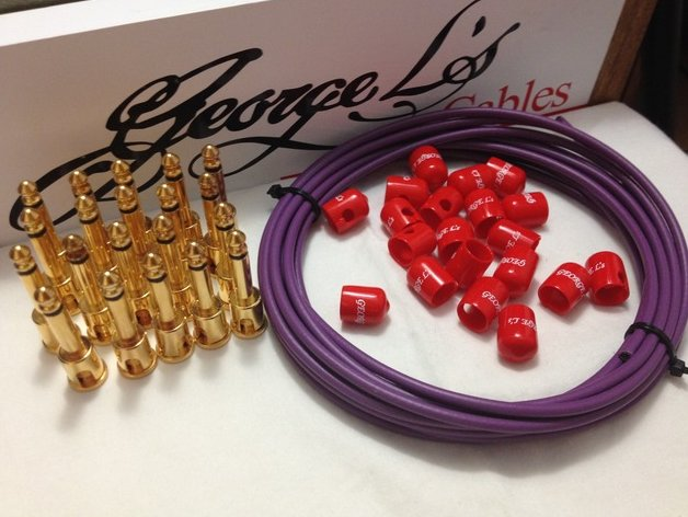 George L's 155 Pedalboard Effects Cable Kit XL .155 Purple & Red / GOLD 20/20/20
