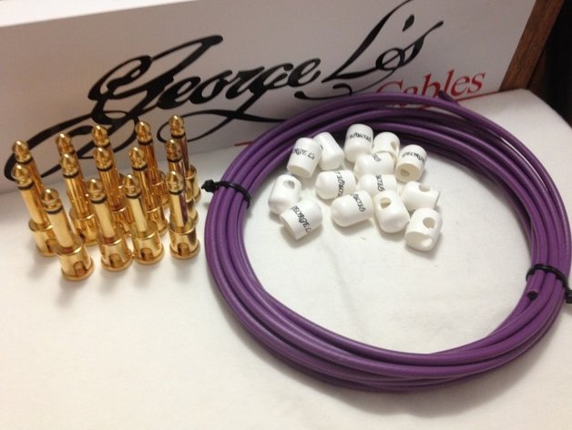 George L's 155 Pedalboard Cable Kit LARGE .155 Purple & White / GOLD 15/14/14