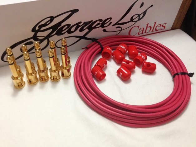 George L's 155 Pedalboard Effects Cable Kit .155 Red / GOLD - 10/10/10