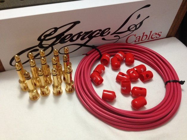 George L's 155 Pedalboard Effects Cable Kit LARGE .155 Red / GOLD 15/14/14