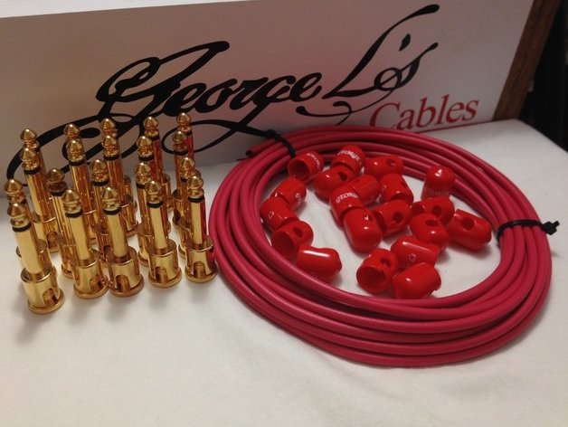 George L's 155 Pedalboard Effects Cable Kit XL .155 Red / GOLD - 20/20/20