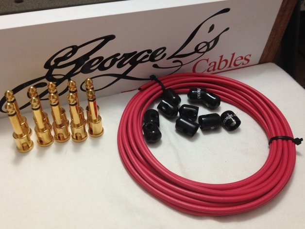 George L's 155 Pedalboard Effects Cable Kit .155 Red Black GOLD - 10/10/10