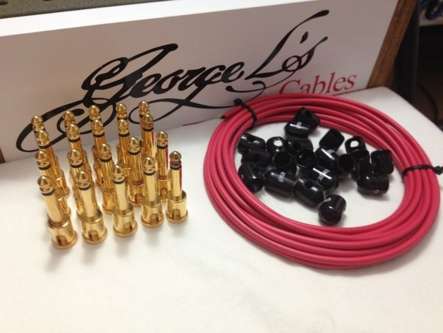 George L's 155 Pedalboard Effects Cable Kit XL .155 Red Black GOLD - 20/20/20