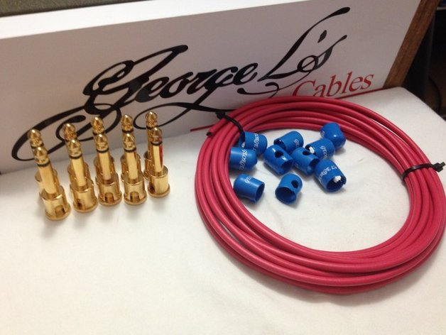 George L's 155 Pedalboard Effects Cable Kit .155 Red & Blue / GOLD - 10/10/10
