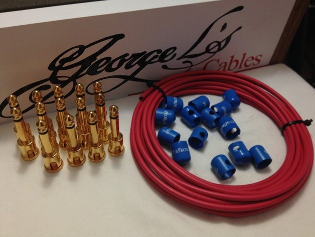 George L's 155 Pedalboard Cable Kit LARGE .155 Red & Blue / GOLD 15/14/14