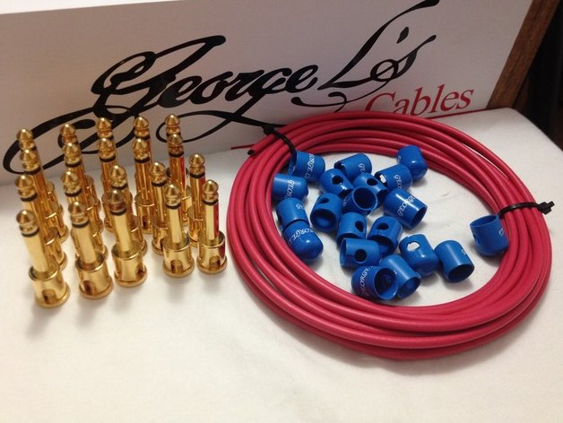 George L's 155 Pedalboard Effects Cable Kit XL .155 Red & Blue / GOLD 20/20/20