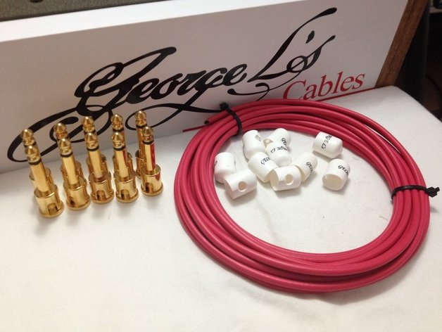 George L's 155 Pedalboard Effects Cable Kit .155 Red & White / GOLD - 10/10/10