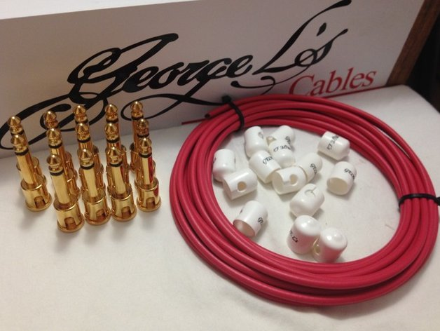 George L's 155 Pedalboard Cable Kit LARGE .155 Red & White / GOLD 15/14/14