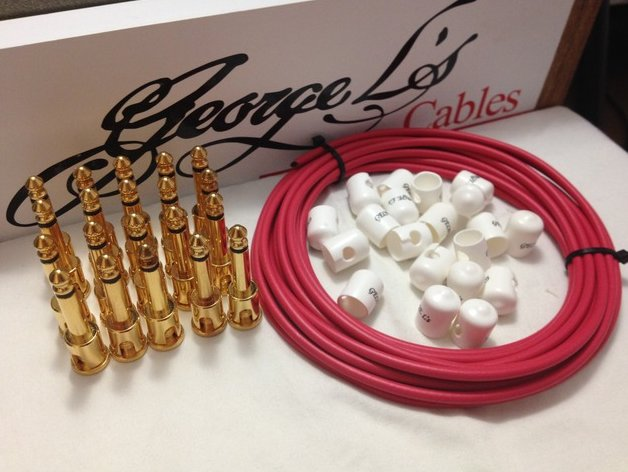 George L's 155 Pedalboard Effects Cable Kit XL .155 Red & White / GOLD 20/20/20
