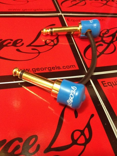 George L's JTM JMP Marshall Plexi Amp Gold Plated Jumper Patch Cable Blue Caps