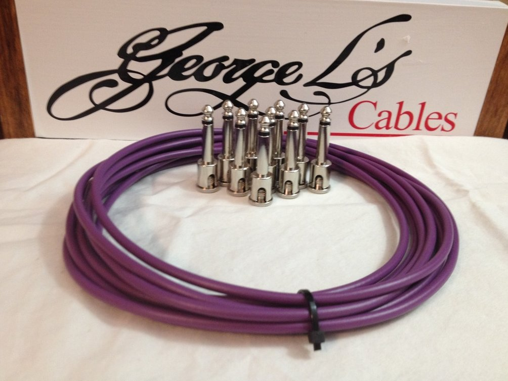 NEW George L 155 Pedalboard Effects Cable Kit .155 Purple / Nickel - 10/10