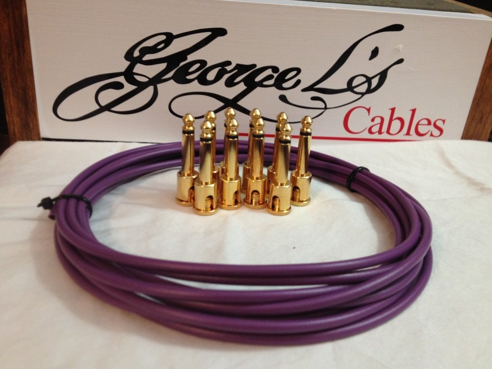 NEW George L 155 Pedalboard Effects Cable Kit .155 Purple / GOLD - 10/10