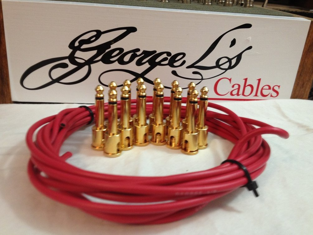 NEW George L 155 Pedalboard Effects Cable Kit LARGE .155 Red / GOLD 15/14