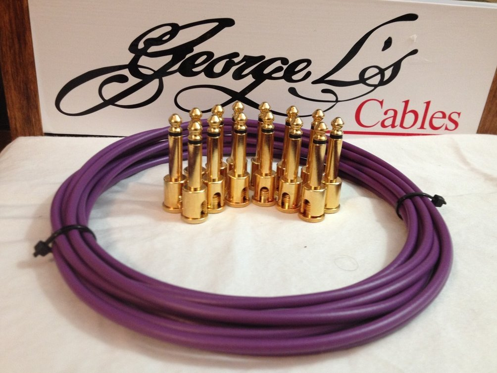 NEW George L 155 Pedalboard Effects Cable Kit LARGE .155 Purple / GOLD 15/14