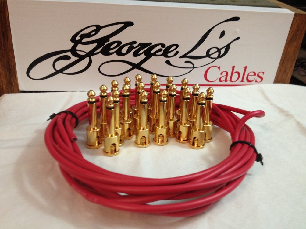NEW George L 155 Pedalboard Effects Cable Kit XL .155 Red / GOLD - 20/20
