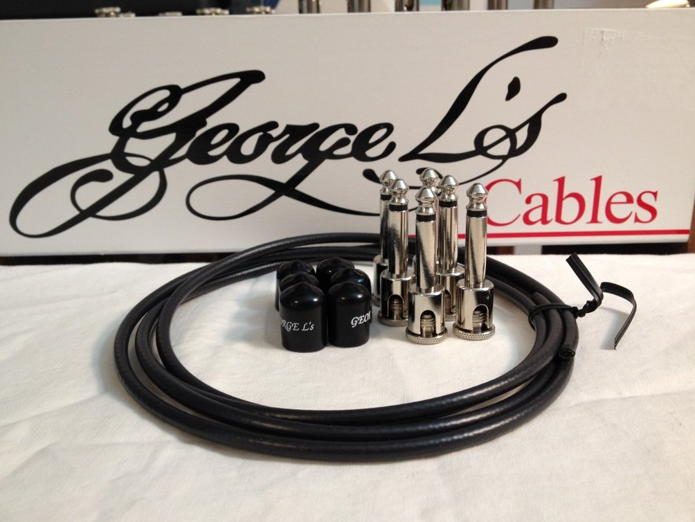 George L's 155 Guitar Pedal Cable Kit .155 Black / Black / Nickel - 6/6/6