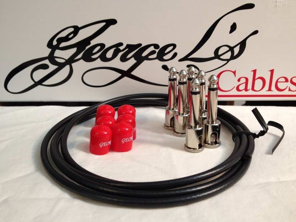 George L's 155 Guitar Pedal Cable Kit .155 Black / Red / Nickel - 6/6/6