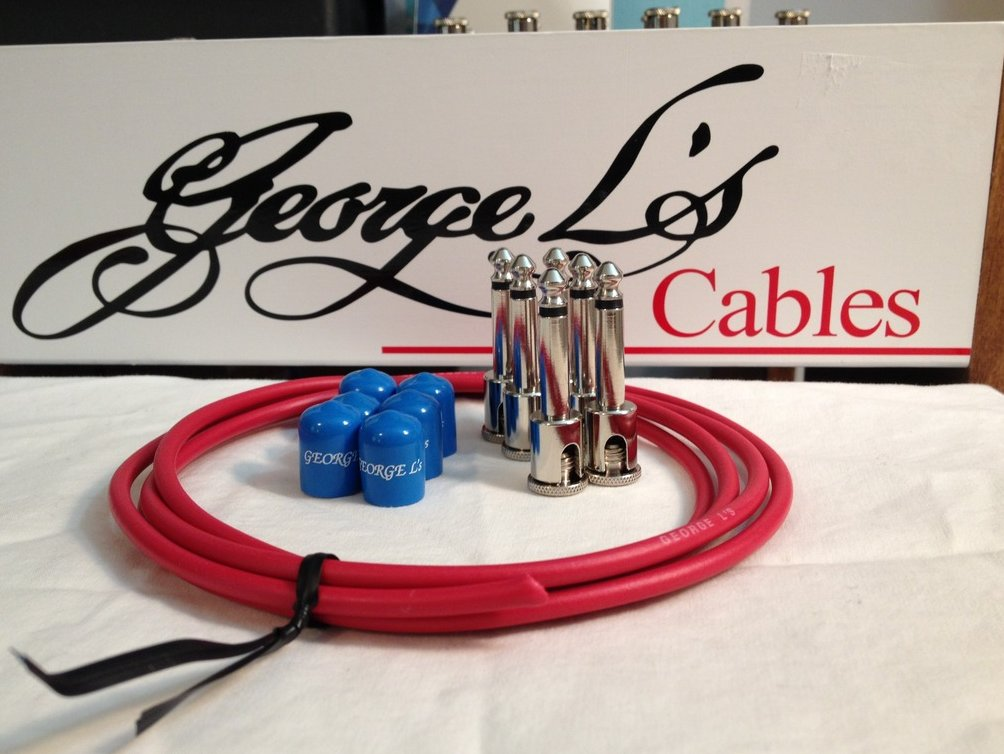 George L's 155 Guitar Pedal Cable Kit .155 Red / Blue / Nickel - 6/6/6