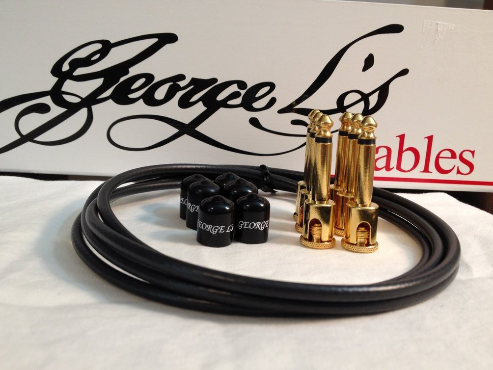 George L's 155 Guitar Pedal Cable Kit .155 Black / Black / Gold - 6/6/6