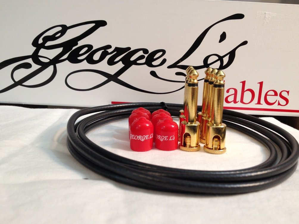 George L's 155 Guitar Pedal Cable Kit .155 Black / Red / Gold - 6/6/6