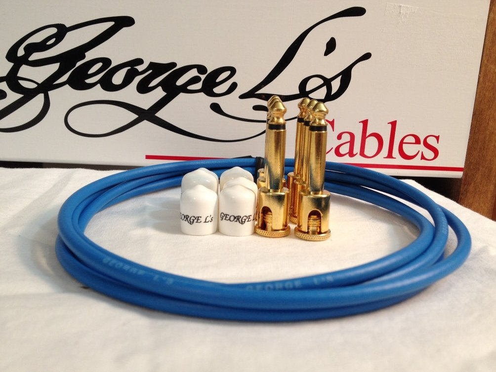 George L's 155 Guitar Pedal Cable Kit .155 Blue / White / Gold - 6/6/6