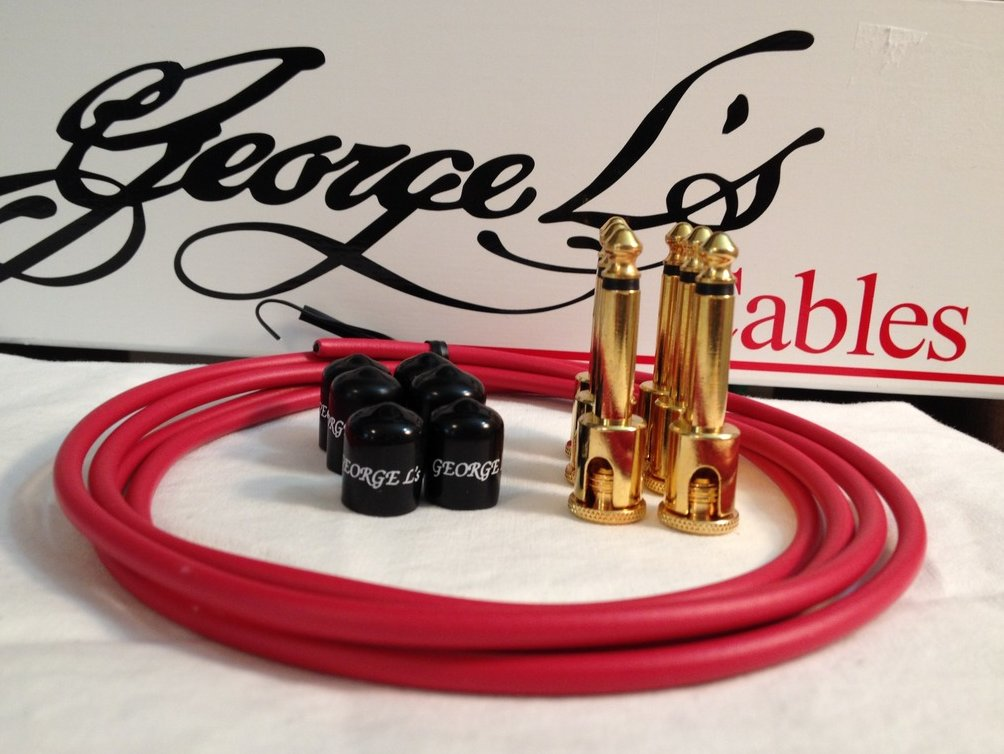 George L's 155 Guitar Pedal Cable Kit .155 Red / Black / Gold - 6/6/6