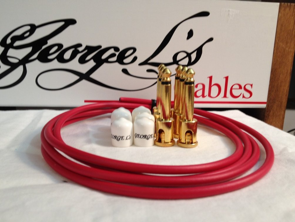 George L's 155 Guitar Pedal Cable Kit .155 Red / White / Gold - 6/6/6