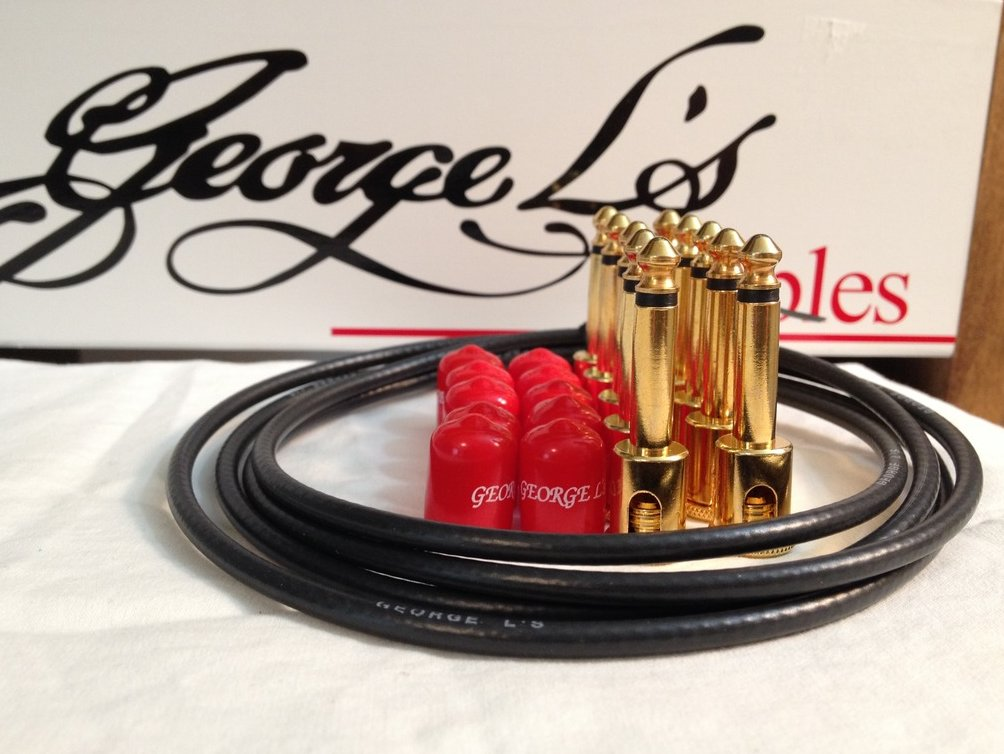 George L's 155 Guitar Pedal Cable Kit .155 Black / Red / Gold - 10/10/5