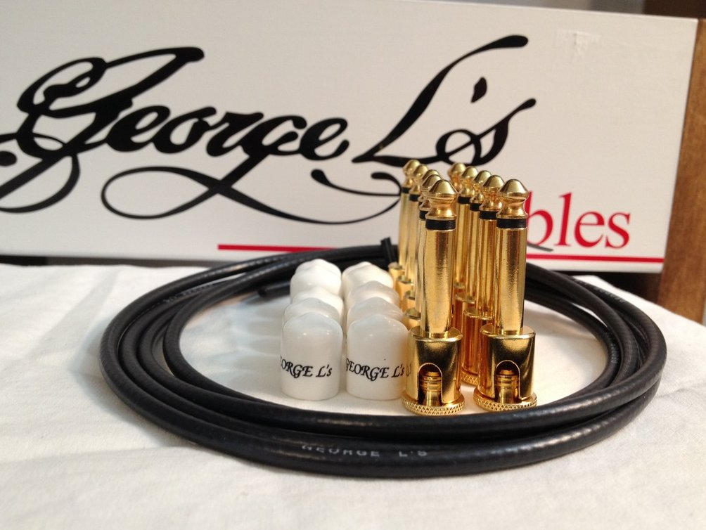George L's 155 Guitar Pedal Cable Kit .155 Black / White / Gold - 10/10/5