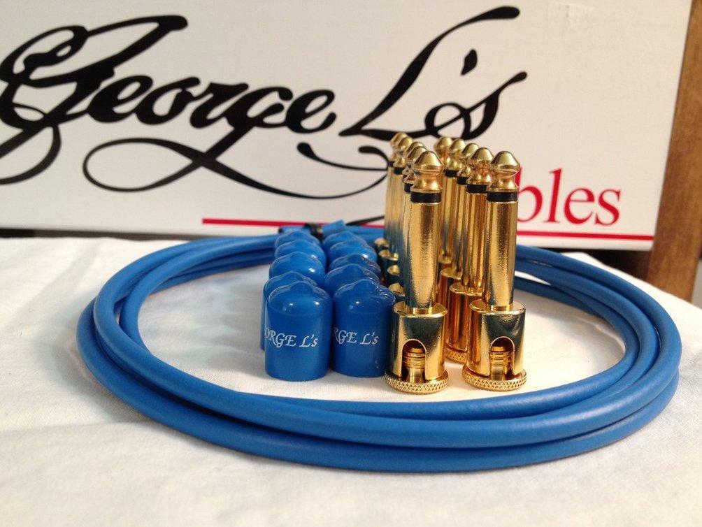 George L's 155 Guitar Pedal Cable Kit .155 Blue / Blue / Gold - 10/10/5