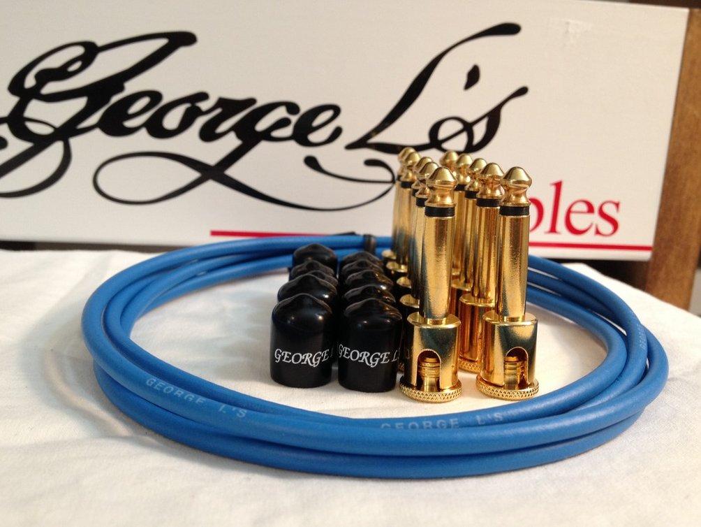 George L's 155 Guitar Pedal Cable Kit .155 Blue / Black / Gold - 10/10/5