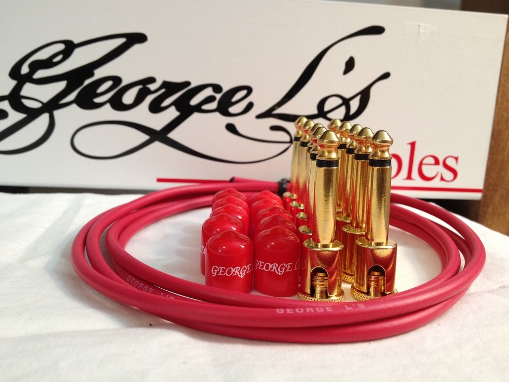 George L's 155 Guitar Pedal Cable Kit .155 Red / Red / Gold - 10/10/5