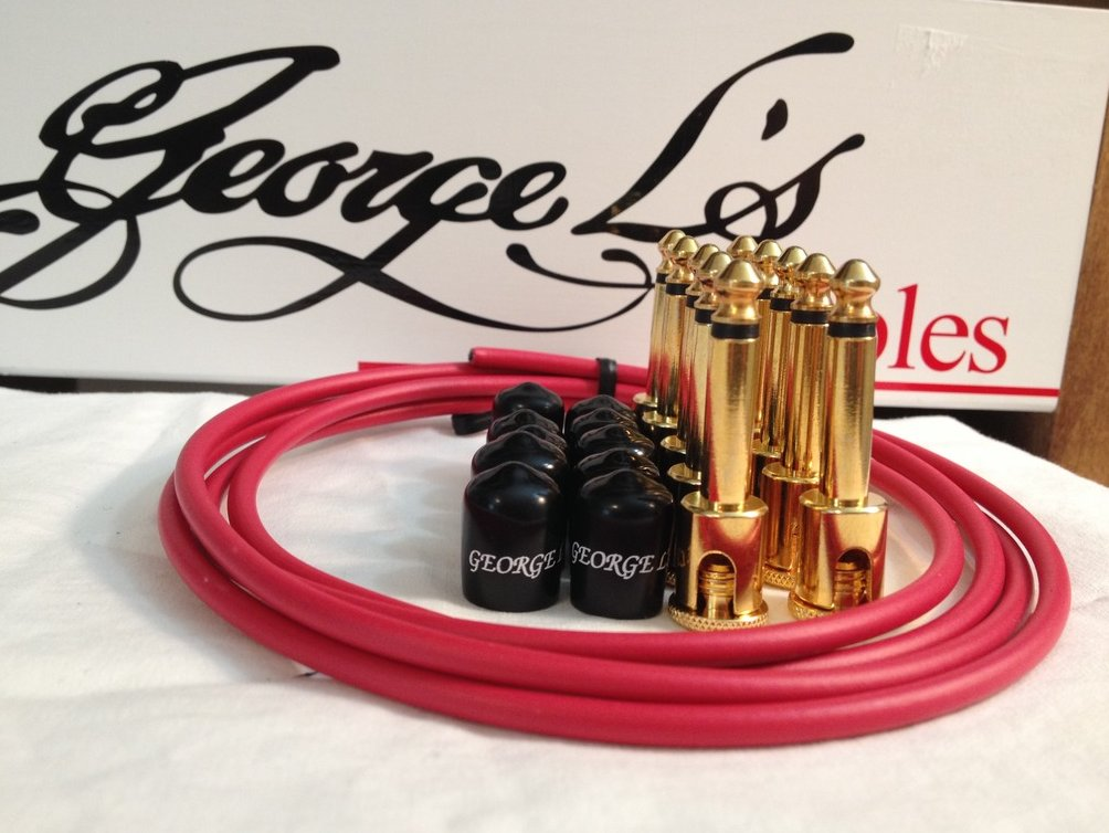George L's 155 Guitar Pedal Cable Kit .155 Red / Black / Gold - 10/10/5