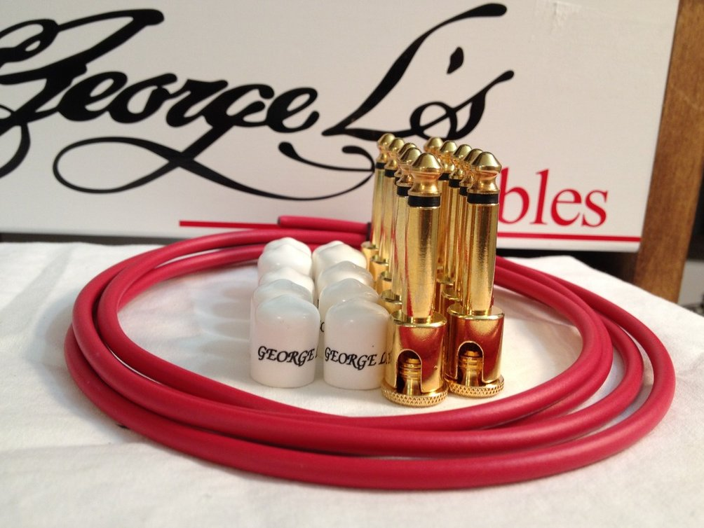 George L's 155 Guitar Pedal Cable Kit .155 Red / White / Gold - 10/10/5