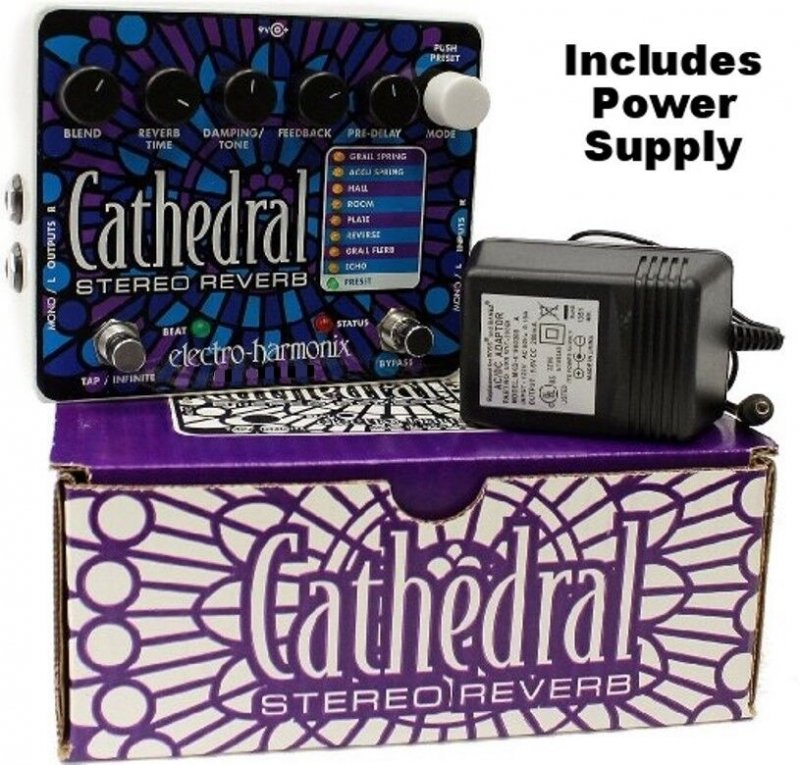 Image 0 of Electro Harmonix Cathedral Stereo Reverb Guitar Pedal with Power Supply