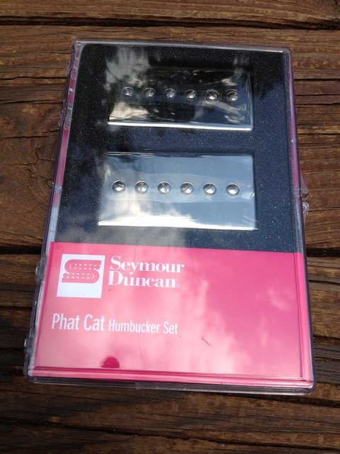 Image 3 of Seymour Duncan SPH90-1 Phat Cat Nickel Set P-90 Pickups Bridge/Neck 11108-16-NC