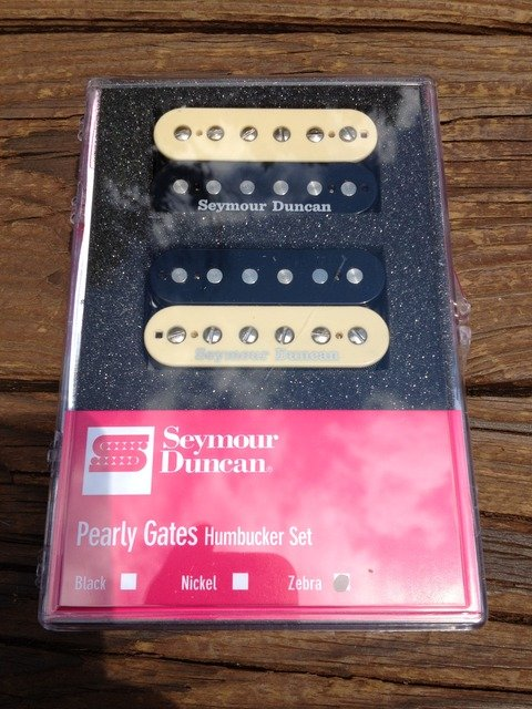 Image 3 of Seymour Duncan Pearly Gates Bridge & Neck Humbucker Pickup Set Zebra 11108-49-Z