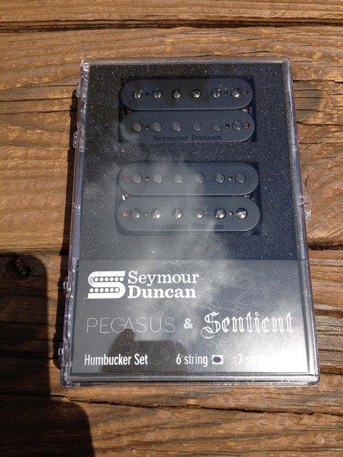 Image 3 of Seymour Duncan Pegasus / Sentient 6 String Humbucker Pickup Set Black 11108-95-B